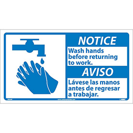 Bilingual Vinyl Sign - Notice Wash Hands Before Returning To Work