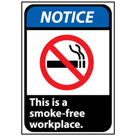 Notice Sign 10x7 Rigid Plastic - This Is A Smoke-Free Workplace