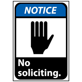 Notice Sign 14x10 Vinyl - No Soliciting