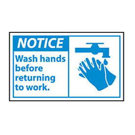Graphic Machine Labels - Wash Hands Before Returning To Work