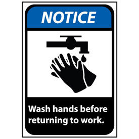 Notice Sign 10x7 Rigid Plastic - Wash Hands Before Returning To Work