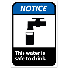 Notice Sign 10x7 Rigid Plastic - This Water Is Safe To Drink