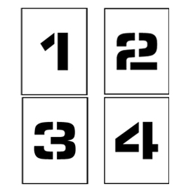 "Individual Character Stencil 4"" - Number Set 0-9"