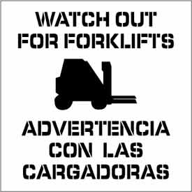 Plant Marking Stencil 20x20 - Look Out Forklifts Bilingual