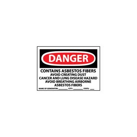 Roll of 500 Hazard Warning Paper Labels - Danger Contains Asbestos w/Generator