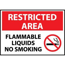 Restricted Area Aluminum - Flammable Liquids No Smoking