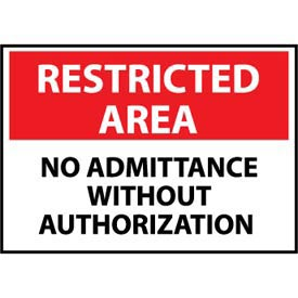 Restricted Area Plastic - No Admittance Without Authorization