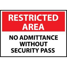 Restricted Area Plastic - No Admittance Without Security Pass