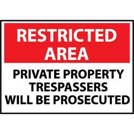Restricted Area Aluminum - Private Property Trespassers Will Be Prosecuted