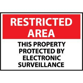 Restricted Area Aluminum - This Property Protected By Electronic Surveillance