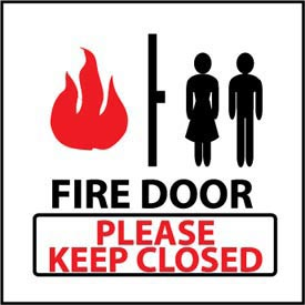 Graphic Safety Labels - Fire Door Please Keep Closed