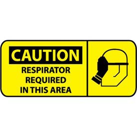 Pictorial OSHA Sign - Vinyl - Caution Respirator Required In This Area