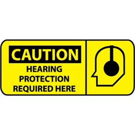 Pictorial OSHA Sign - Vinyl - Caution Hearing Protection Required Here