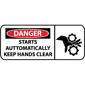 Pictorial OSHA Sign - Plastic - Danger Starts Automatically Keep Hands Clear