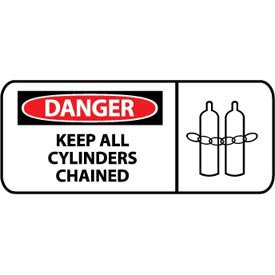 Pictorial OSHA Sign - Plastic - Danger Keep All Cylinders Chained