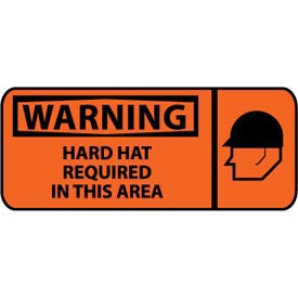 Pictorial OSHA Sign - Plastic - Warning Hard Hat Required In This Area