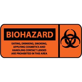 Pictorial OSHA Sign - Vinyl - Biohazard Eating, Drinking, Smoking Prohibited