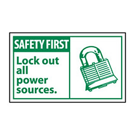 Graphic Machine Labels - Safety First Lock Out All Power Sources
