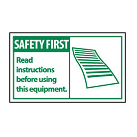 Graphic Machine Labels - Safety First Read Instructions Before Using This