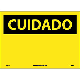 Spanish Vinyl Sign - Cuidado Blank
