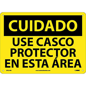 Spanish Plastic Sign - Cuidado Use Casco Protector En Esta Area