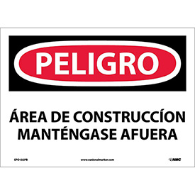 Spanish Vinyl Sign - Peligro Area De Construccion Mantengase Afuera