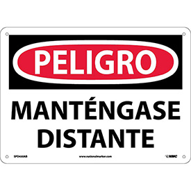 Spanish Aluminum Sign - Peligro Manténgase Distante