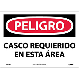Spanish Vinyl Sign - Peligro Casco Requerido En Esta Area