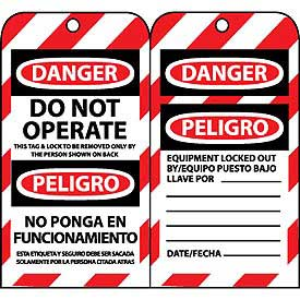 Bilingual Lockout Tags - Do Not Operate - Bloqueado No Ponga En Funcionamiento