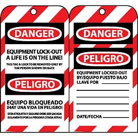 Bilingual Lockout Tags - Equipment Lock-Out A Life Is On The Line