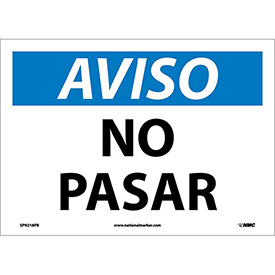 Spanish Vinyl Sign - Aviso No Pasar