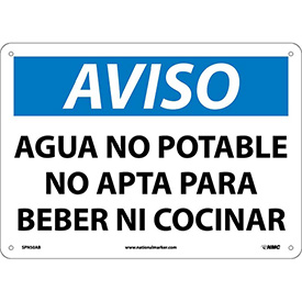 Spanish Aluminum Sign - Aviso Agua No Potable No Apta Para Beber Ni Cocinar