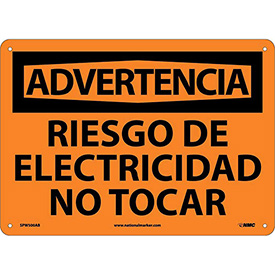 Spanish Aluminum Sign - Advertencia Riesgo De Electricidad No Tocar
