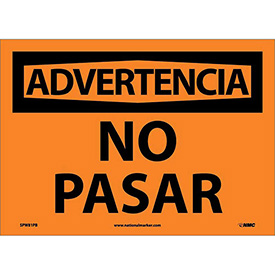 Spanish Vinyl Sign - Advertencia No Pasar