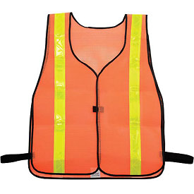NMC SV4 Safety Vest, Orange with Lime Yellow Reflective Stripes, One Size Fits All