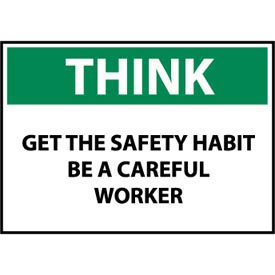 Think Osha 10x14 Plastic - Get The Safety Habit Be A Careful Worker