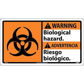 Bilingual Plastic Sign - Warning Biological Hazard