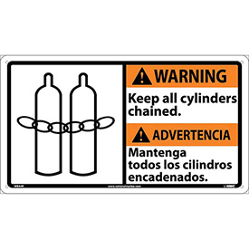 Bilingual Plastic Sign - Warning Keep All Cylinders Chained