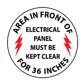 Walk On Floor Sign - Area In Front Of Electrical Panel Must Be Kept Clear