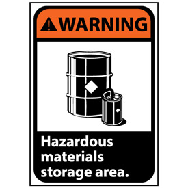 Warning Sign 10x7 Rigid Plastic - Hazardous Materials Storage Area