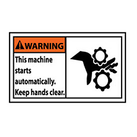 Graphic Machine Labels - Warning This Machine Starts Automatically