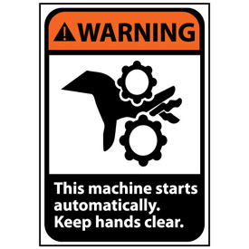 Warning Sign 10x7 Rigid Plastic - Machine Starts Automatically