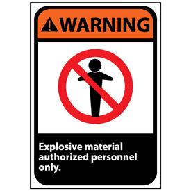 Warning Sign 14x10 Rigid Plastic - Explosive Material