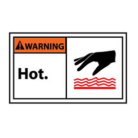 Graphic Machine Labels - Warning Hot