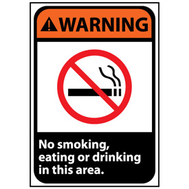 Warning Sign 14x10 Vinyl - No Smoking, Eating Or Drinking