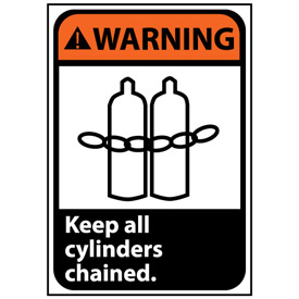 Warning Sign 14x10 Vinyl - Keep All Cylinders Chained