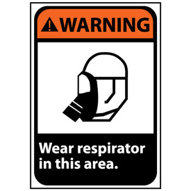 Warning Sign 14x10 Rigid Plastic - Wear Respirator In This Area