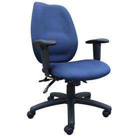 Boss Multifunction Task Chair with Seat Slider - Fabric - High Back - Blue