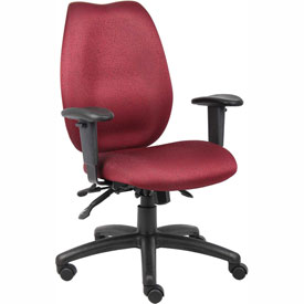 Boss Multifunction Task Chair with Seat Slider - Fabric - High Back - Burgundy