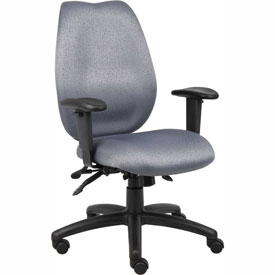 Boss Multifunction Task Chair with Seat Slider - Fabric - High Back - Gray